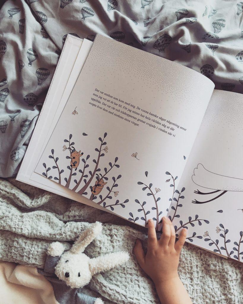 Personlig barnbok När storken kom med mig Personlig present Dopgåva Namngivningspresent Födelse